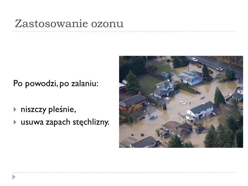 Zastosowanie ozonu Po powodzi, po zalaniu: niszczy pleśnie, usuwa zapach stęchlizny.