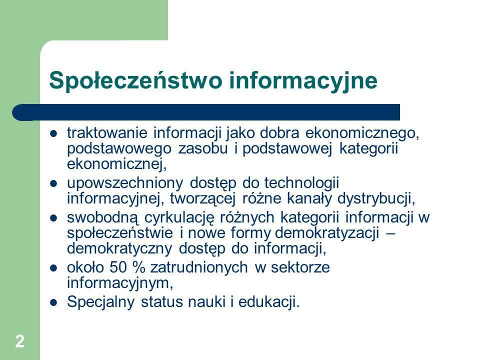 2 Społeczeństwo informacyjne traktowanie informacji jako dobra ekonomicznego, podstawowego zasobu i podstawowej kategorii ekonomicznej, upowszechniony