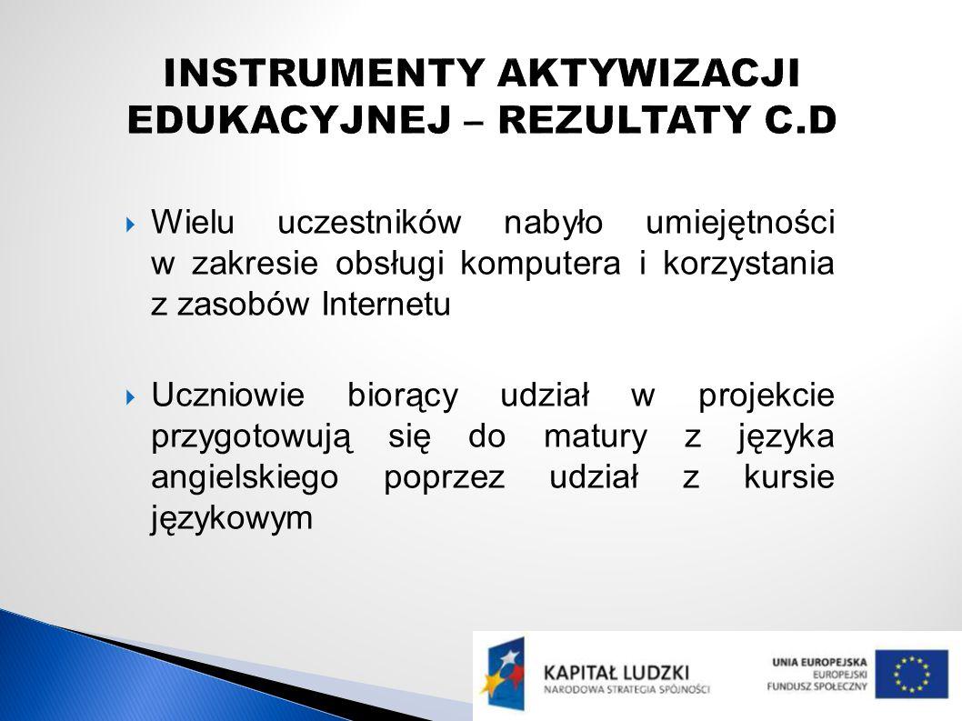 Wielu uczestników nabyło umiejętności w zakresie obsługi komputera i korzystania z zasobów Internetu Uczniowie biorący udział w projekcie przygotowują się do matury z języka angielskiego poprzez udział z kursie językowym