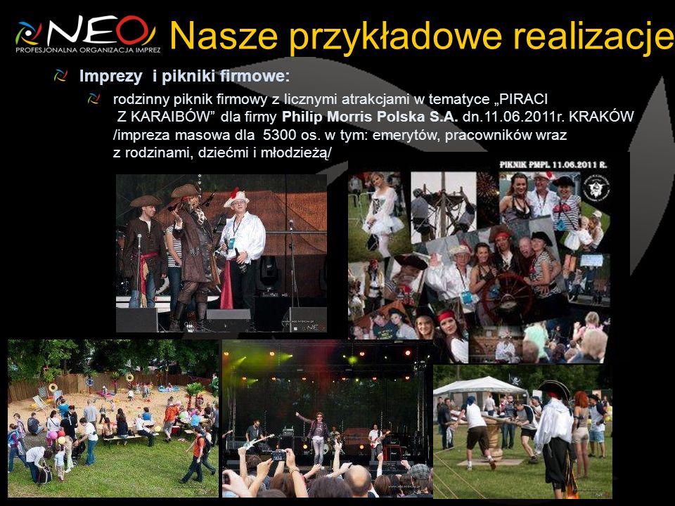 Nasze przykładowe realizacje Imprezy i pikniki firmowe: rodzinny piknik firmowy z licznymi atrakcjami w tematyce PIRACI Z KARAIBÓW dla firmy Philip Morris Polska S.A.