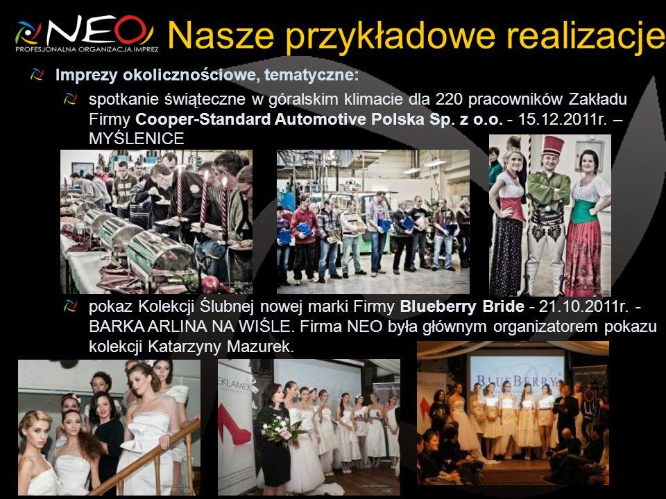 Nasze przykładowe realizacje Imprezy okolicznościowe, tematyczne: spotkanie świąteczne w góralskim klimacie dla 220 pracowników Zakładu Firmy Cooper-Standard Automotive Polska Sp.