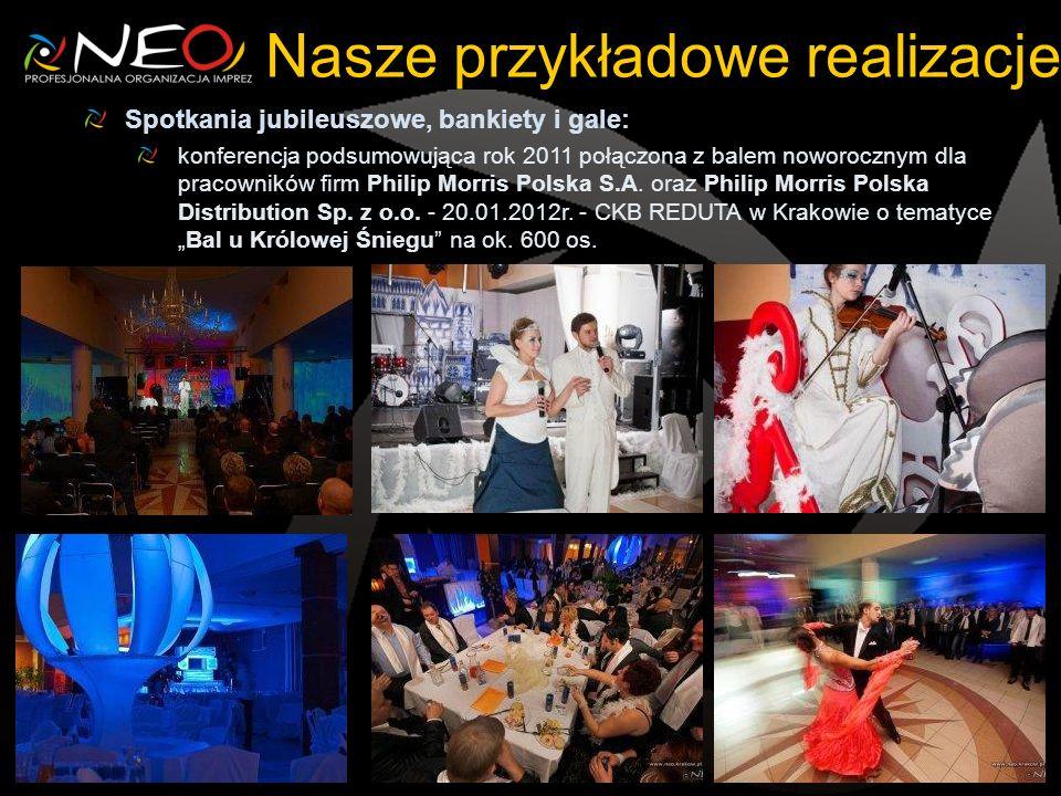 Nasze przykładowe realizacje Spotkania jubileuszowe, bankiety i gale: konferencja podsumowująca rok 2011 połączona z balem noworocznym dla pracowników firm Philip Morris Polska S.A.