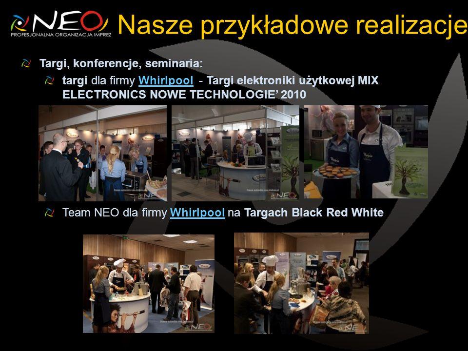 Nasze przykładowe realizacje Targi, konferencje, seminaria: targi dla firmy Whirlpool - Targi elektroniki użytkowej MIX ELECTRONICS NOWE TECHNOLOGIE 2010Whirlpool Team NEO dla firmy Whirlpool na Targach Black Red WhiteWhirlpool
