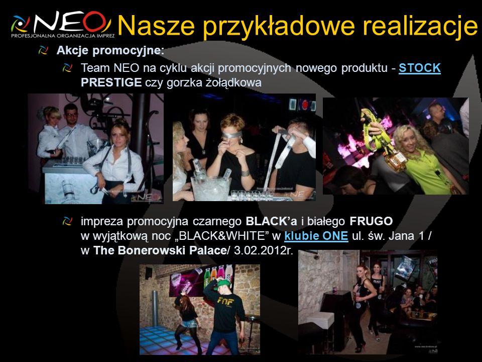 Nasze przykładowe realizacje Akcje promocyjne: Team NEO na cyklu akcji promocyjnych nowego produktu - STOCK PRESTIGE czy gorzka żołądkowaSTOCK impreza promocyjna czarnego BLACKa i białego FRUGO w wyjątkową noc BLACK&WHITE w klubie ONE ul.