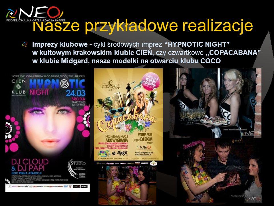 Nasze przykładowe realizacje Imprezy klubowe - cykl środowych imprez HYPNOTIC NIGHT w kultowym krakowskim klubie CIEŃ, czy czwartkowe COPACABANA w klubie Midgard, nasze modelki na otwarciu klubu COCO