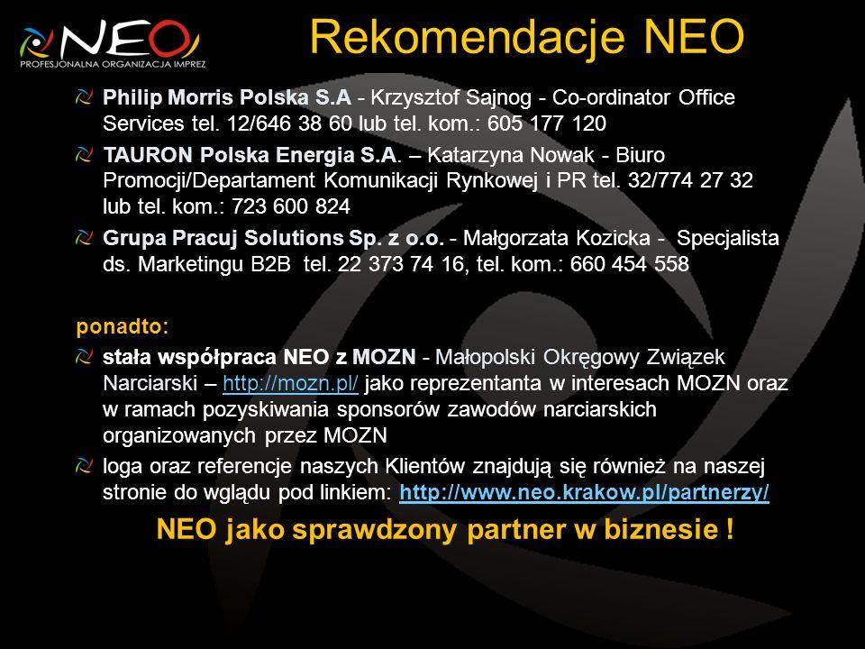 Rekomendacje NEO Philip Morris Polska S.A - Krzysztof Sajnog - Co-ordinator Office Services tel.