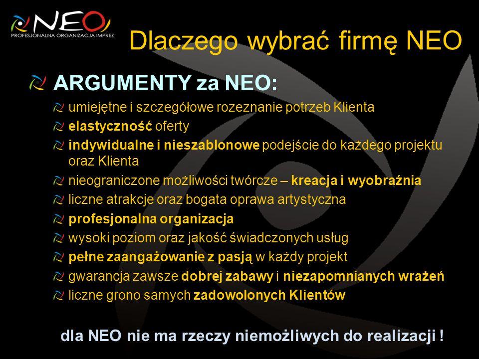Dlaczego wybrać firmę NEO ARGUMENTY za NEO: umiejętne i szczegółowe rozeznanie potrzeb Klienta elastyczność oferty indywidualne i nieszablonowe podejś