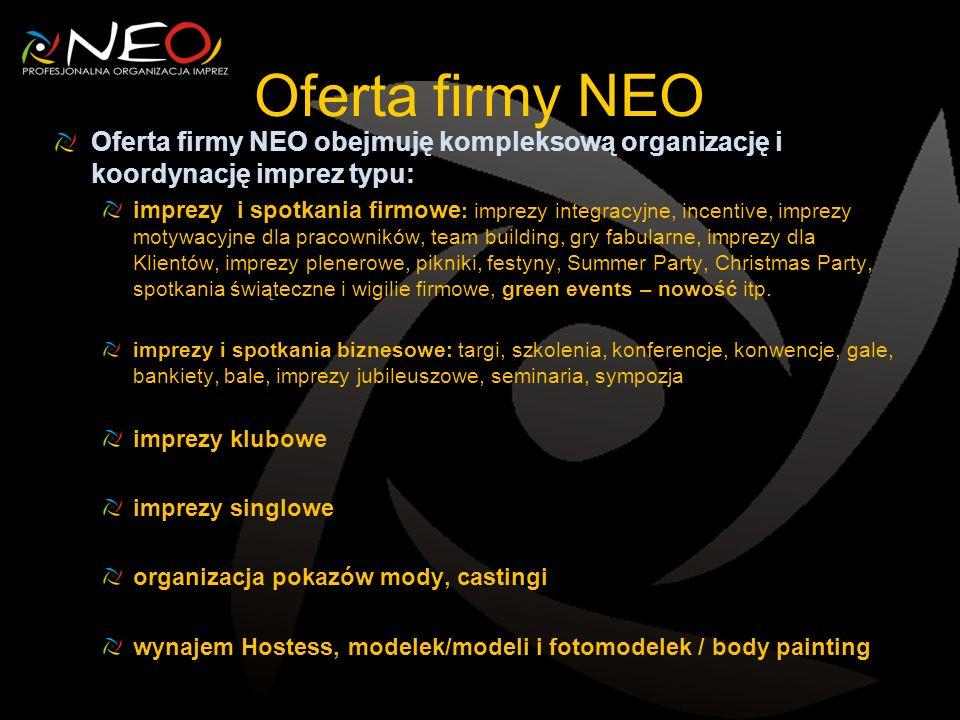 Oferta firmy NEO Oferta firmy NEO obejmuję kompleksową organizację i koordynację imprez typu: imprezy i spotkania firmowe : imprezy integracyjne, ince