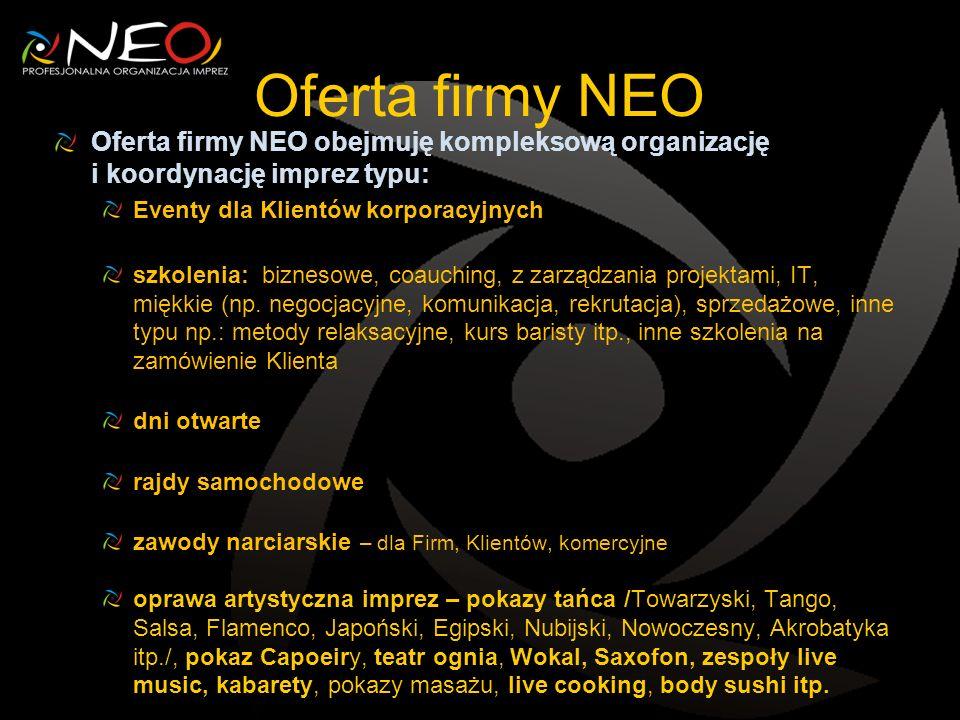 Oferta firmy NEO Oferta firmy NEO obejmuję kompleksową organizację i koordynację imprez typu: Eventy dla Klientów korporacyjnych szkolenia: biznesowe, coauching, z zarządzania projektami, IT, miękkie (np.