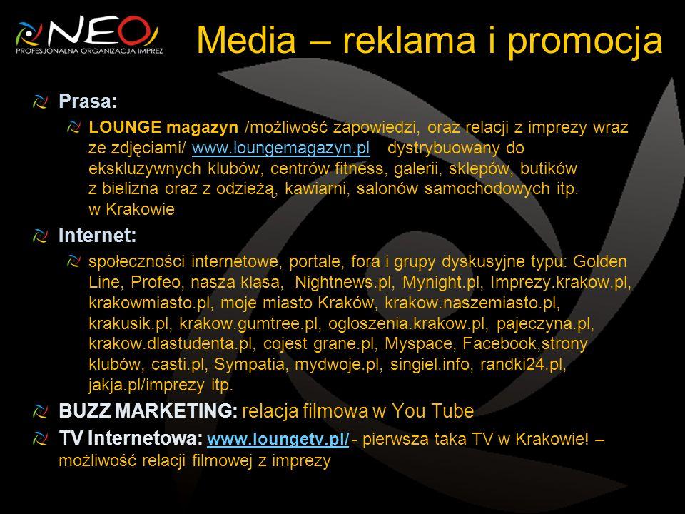 Media – reklama i promocja Prasa: LOUNGE magazyn /możliwość zapowiedzi, oraz relacji z imprezy wraz ze zdjęciami/ www.loungemagazyn.pl dystrybuowany do ekskluzywnych klubów, centrów fitness, galerii, sklepów, butików z bielizna oraz z odzieżą, kawiarni, salonów samochodowych itp.