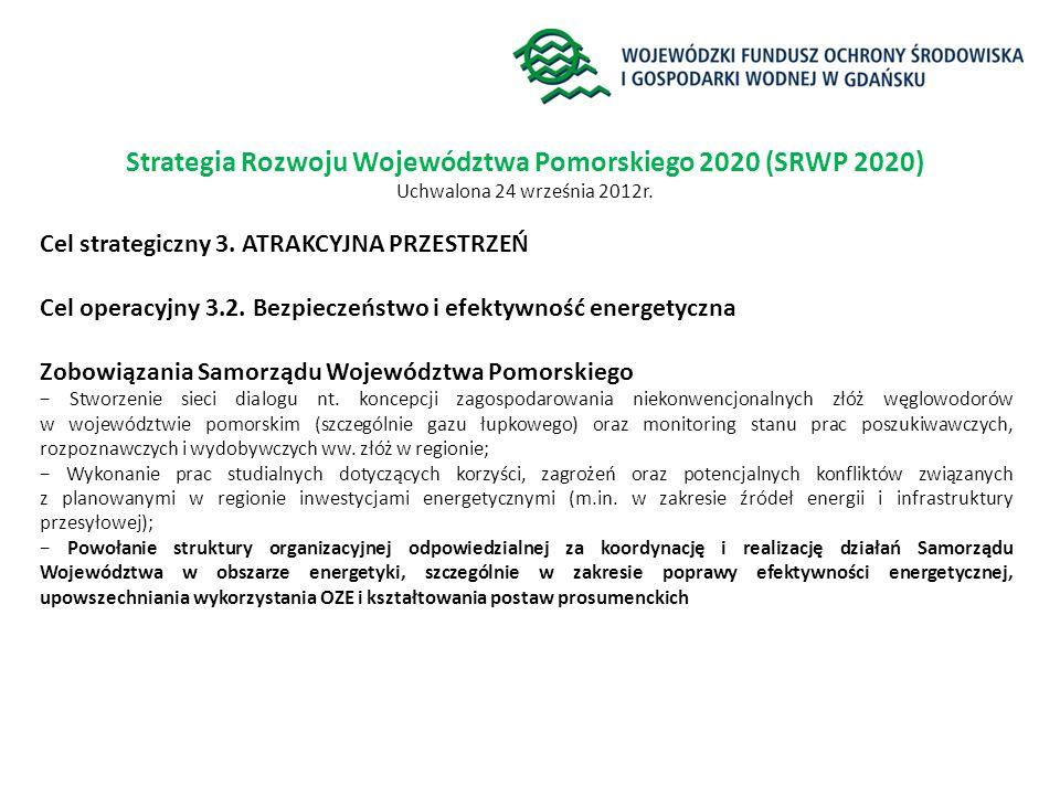 Strategia Rozwoju Województwa Pomorskiego 2020 (SRWP 2020) Uchwalona 24 września 2012r. Cel strategiczny 3. ATRAKCYJNA PRZESTRZEŃ Cel operacyjny 3.2.