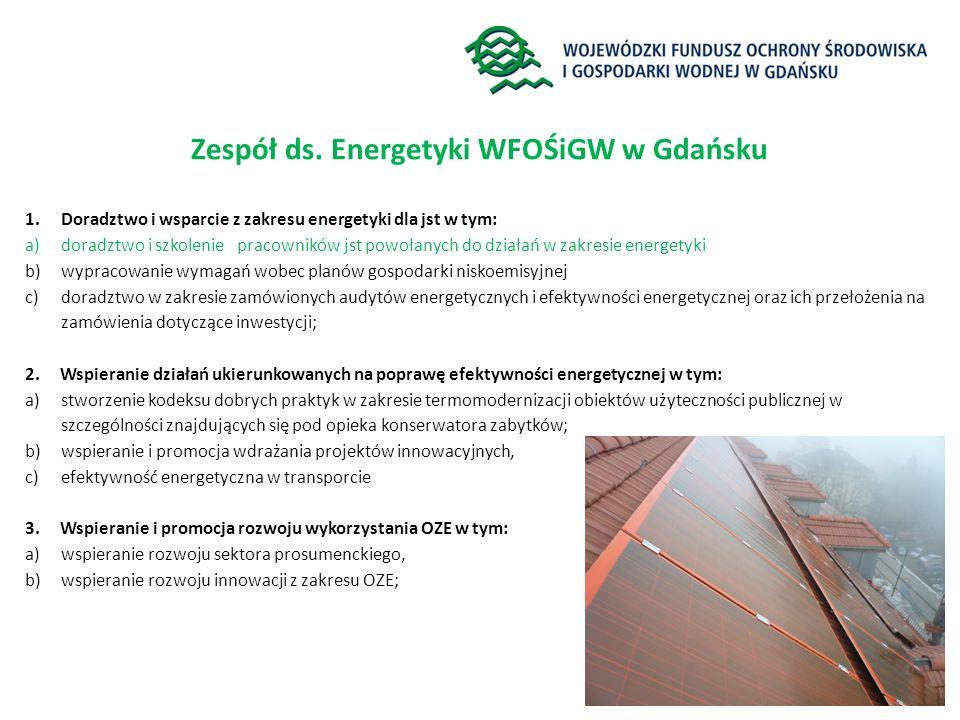 Zespół ds. Energetyki WFOŚiGW w Gdańsku 1.Doradztwo i wsparcie z zakresu energetyki dla jst w tym: a)doradztwo i szkolenie pracowników jst powołanych