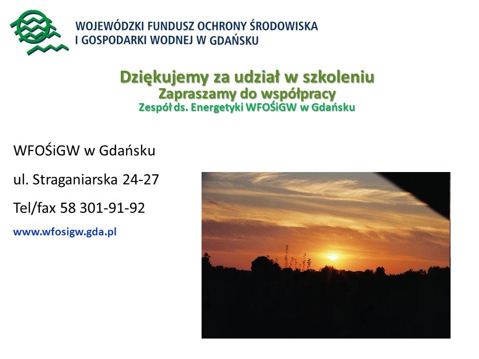 WFOŚiGW w Gdańsku ul. Straganiarska 24-27 Tel/fax 58 301-91-92 www.wfosigw.gda.pl Dziękujemy za udział w szkoleniu Zapraszamy do współpracy Zespół ds.