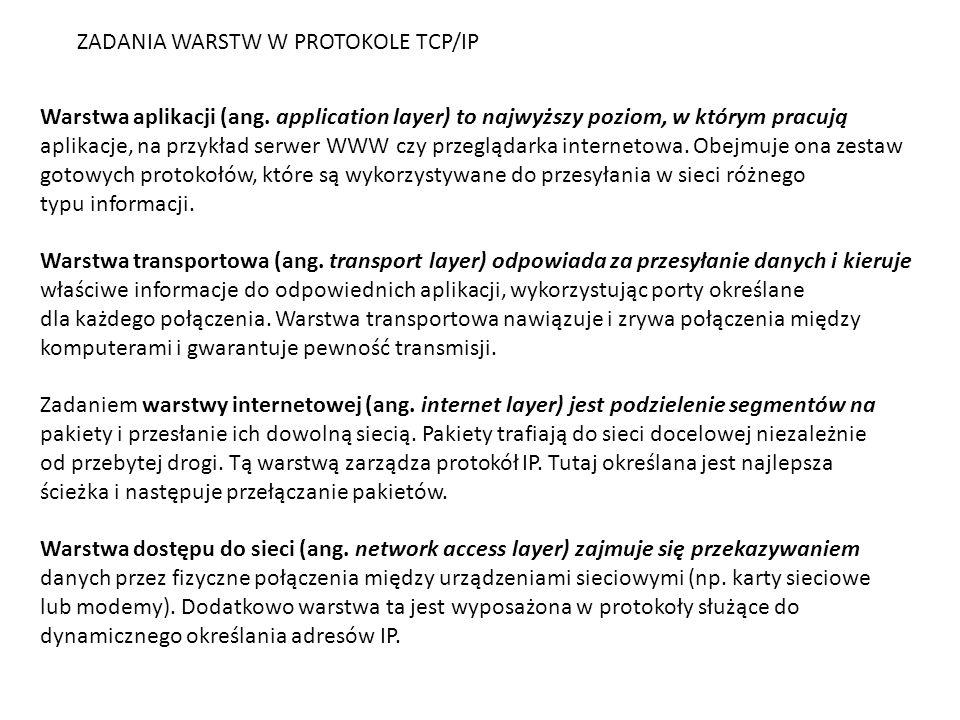 Protokoły w warstwie dostępu do sieci Warstwa dostępu do sieci jest odpowiedzialna za wszystkie zagadnienia związane z zestawieniem łącza fizycznego służącego do przekazywania pakietu IP do medium sieciowego.