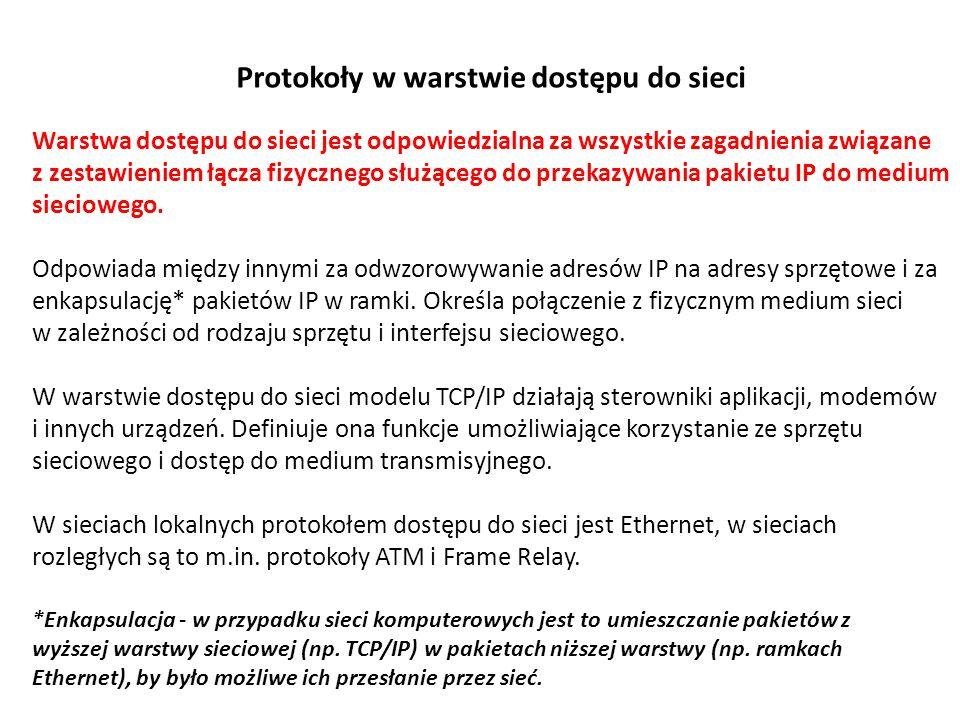 Protokoły warstwy internetowej Zadaniem warstwy internetowej jest wybranie najlepszej ścieżki dla pakietów przesyłanych w sieci.