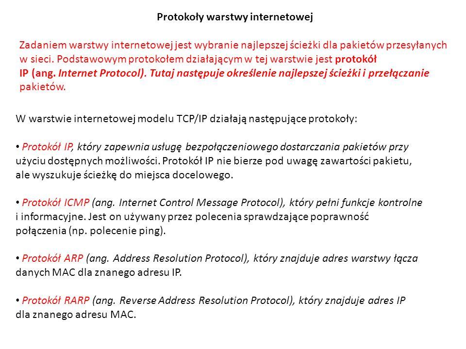 Protokoły warstwy transportowej Protokoły warstwy transportowej to TCP i UDP.