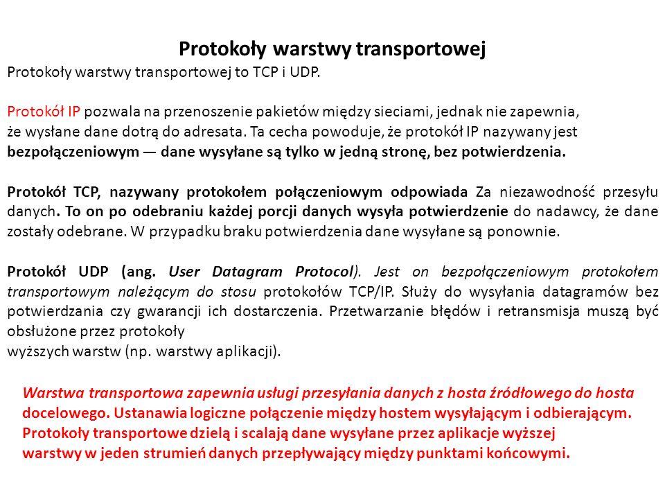 Protokoły warstwy transportowej Protokoły warstwy transportowej to TCP i UDP. Protokół IP pozwala na przenoszenie pakietów między sieciami, jednak nie