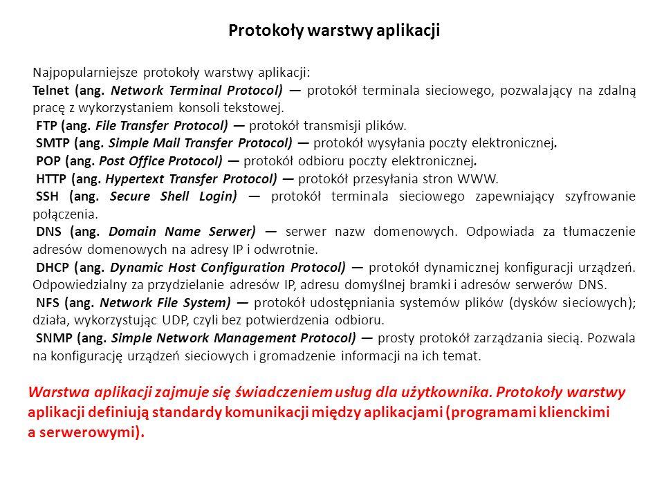 Protokoły warstwy aplikacji Najpopularniejsze protokoły warstwy aplikacji: Telnet (ang. Network Terminal Protocol) protokół terminala sieciowego, pozw