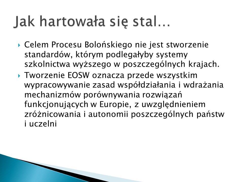 Celem Procesu Bolońskiego nie jest stworzenie standardów, którym podlegałyby systemy szkolnictwa wyższego w poszczególnych krajach. Tworzenie EOSW ozn