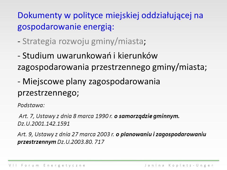Dokumenty w polityce miejskiej oddziałującej na gospodarowanie energią: - Strategia rozwoju gminy/miasta; - Studium uwarunkowań i kierunków zagospodar