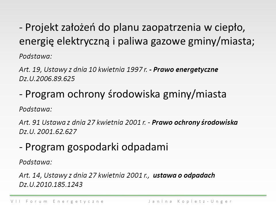 - Projekt założeń do planu zaopatrzenia w ciepło, energię elektryczną i paliwa gazowe gminy/miasta; Podstawa: Art. 19, Ustawy z dnia 10 kwietnia 1997