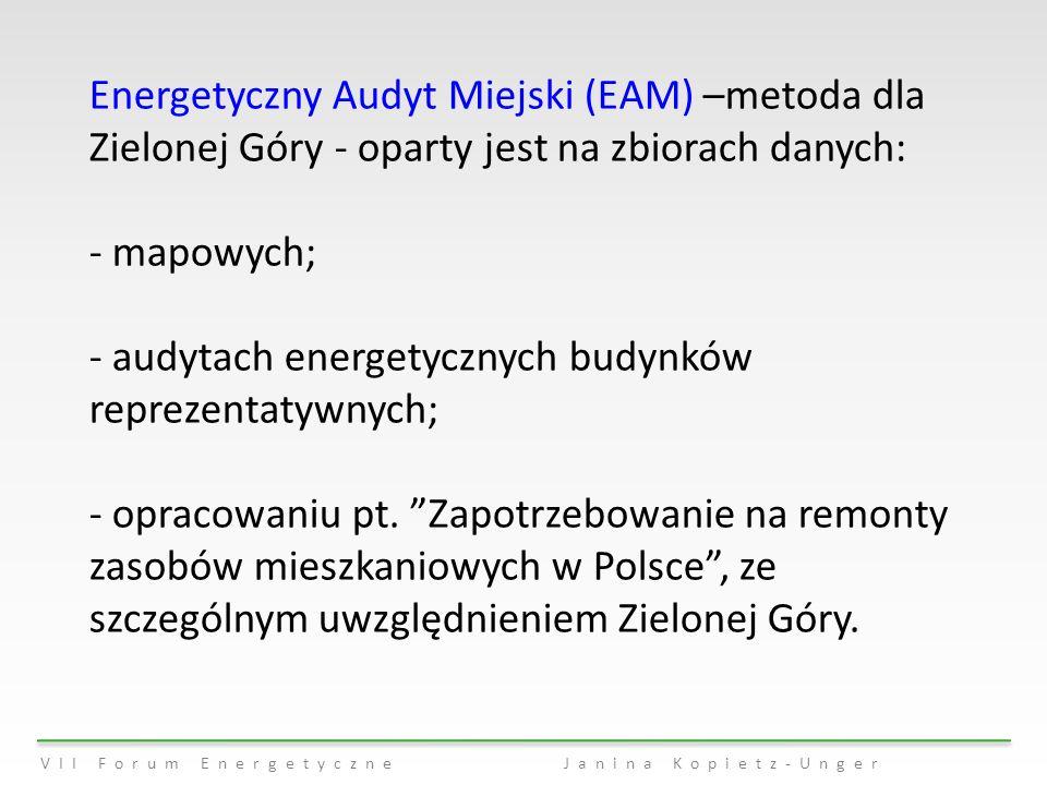 VII Forum EnergetyczneJanina Kopietz-Unger Energetyczny Audyt Miejski (EAM) –metoda dla Zielonej Góry - oparty jest na zbiorach danych: - mapowych; -