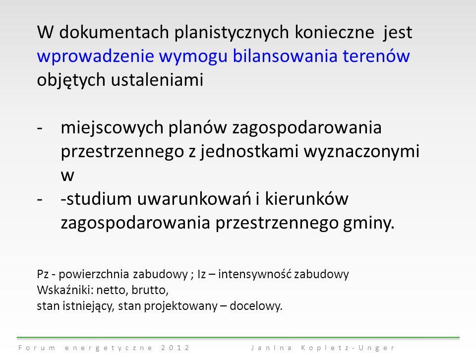 Forum energetyczne 2012 Janina Kopietz-Unger W dokumentach planistycznych konieczne jest wprowadzenie wymogu bilansowania terenów objętych ustaleniami