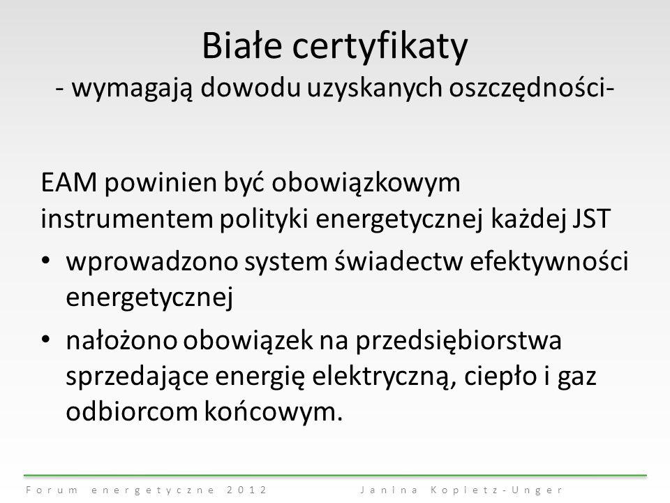 Forum energetyczne 2012Janina Kopietz-Unger Białe certyfikaty - wymagają dowodu uzyskanych oszczędności- EAM powinien być obowiązkowym instrumentem po