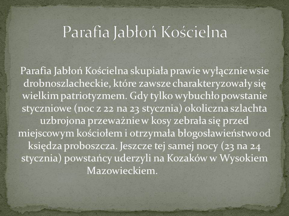 Parafia Jabłoń Kościelna skupiała prawie wyłącznie wsie drobnoszlacheckie, które zawsze charakteryzowały się wielkim patriotyzmem. Gdy tylko wybuchło