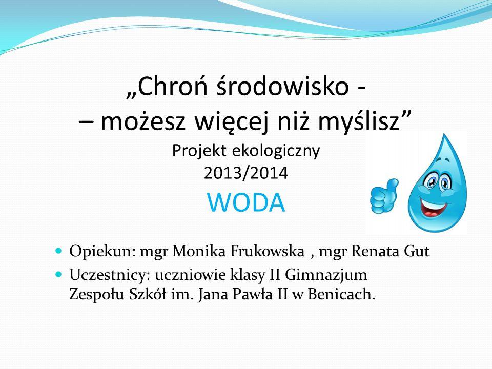Chroń środowisko - – możesz więcej niż myślisz Projekt ekologiczny 2013/2014 WODA Opiekun: mgr Monika Frukowska, mgr Renata Gut Uczestnicy: uczniowie