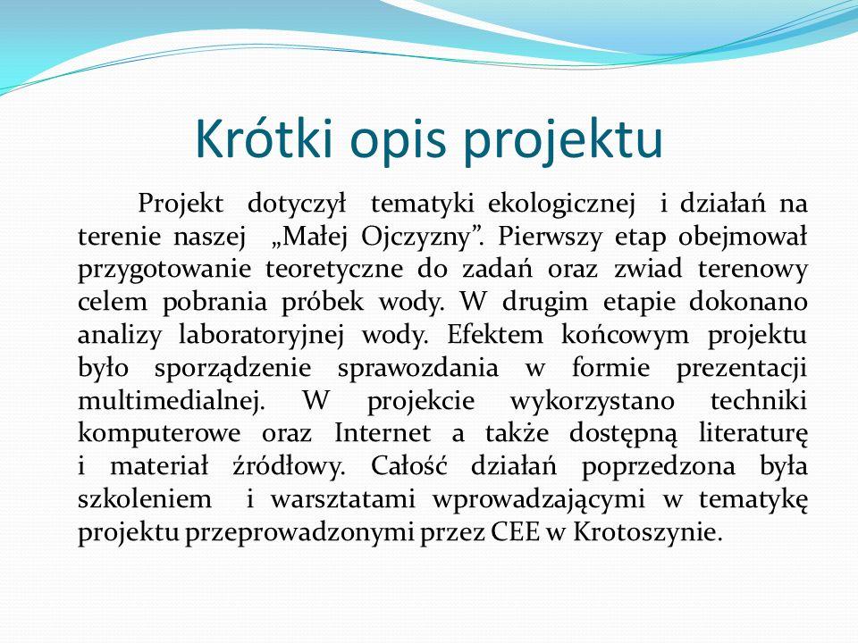 Krótki opis projektu Projekt dotyczył tematyki ekologicznej i działań na terenie naszej Małej Ojczyzny. Pierwszy etap obejmował przygotowanie teoretyc