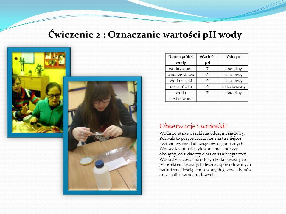 Ćwiczenie 2 : Oznaczanie wartości pH wody Numer próbki wody Wartość pH Odczyn woda z kranu7obojętny woda ze stawu8zasadowy woda z rzeki9zasadowy deszc