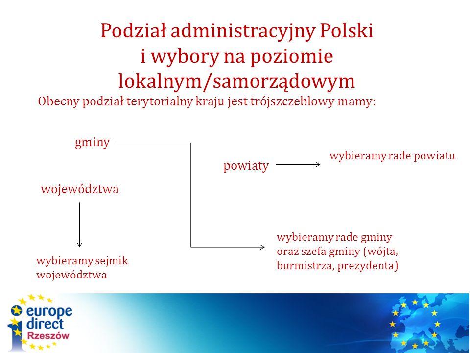 Podział administracyjny Polski i wybory na poziomie lokalnym/samorządowym Obecny podział terytorialny kraju jest trójszczeblowy mamy: gminy powiaty wo