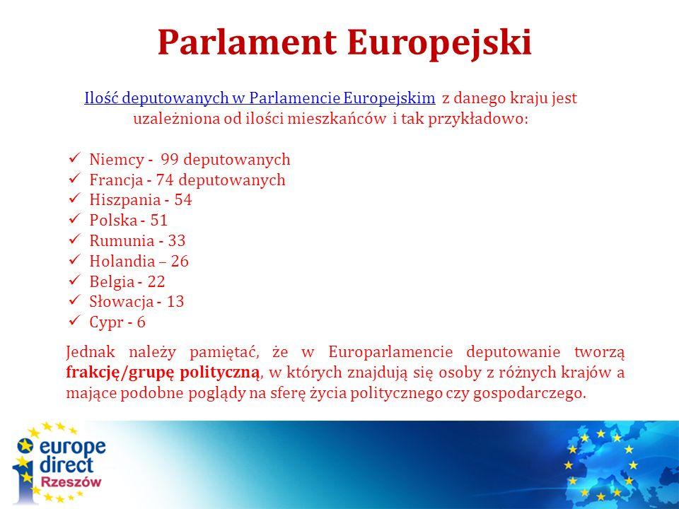 Parlament Europejski Ilość deputowanych w Parlamencie EuropejskimIlość deputowanych w Parlamencie Europejskim z danego kraju jest uzależniona od ilośc