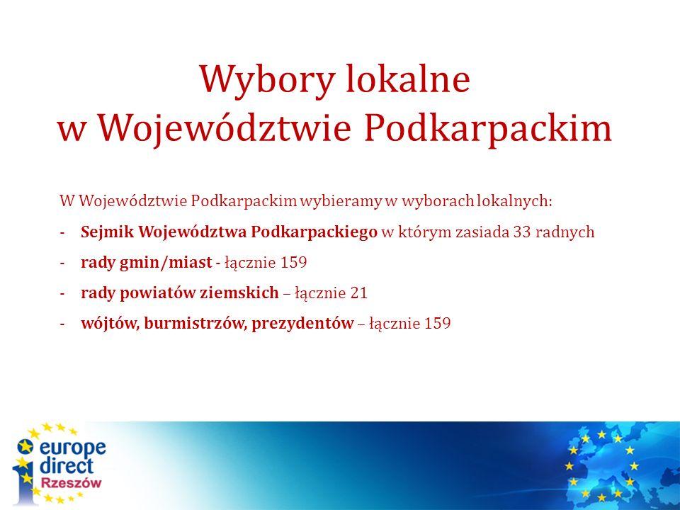 W Województwie Podkarpackim wybieramy w wyborach lokalnych: -Sejmik Województwa Podkarpackiego w którym zasiada 33 radnych -rady gmin/miast - łącznie