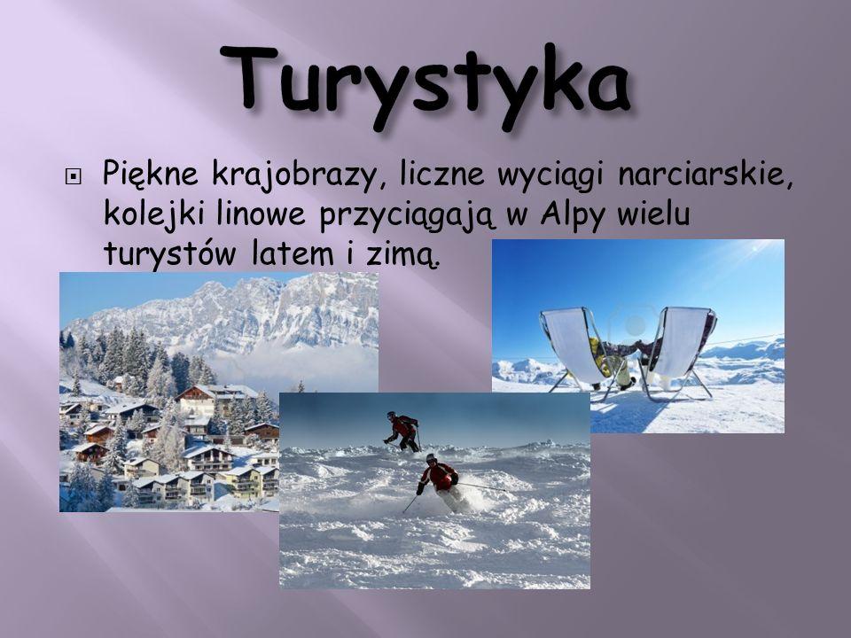 Piękne krajobrazy, liczne wyciągi narciarskie, kolejki linowe przyciągają w Alpy wielu turystów latem i zimą.