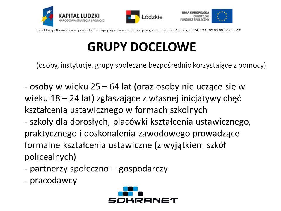 GRUPY DOCELOWE Projekt współfinansowany przez Unię Europejską w ramach Europejskiego Funduszu Społecznego UDA-POKL.09.03.00-10-038/10 (osoby, instytuc
