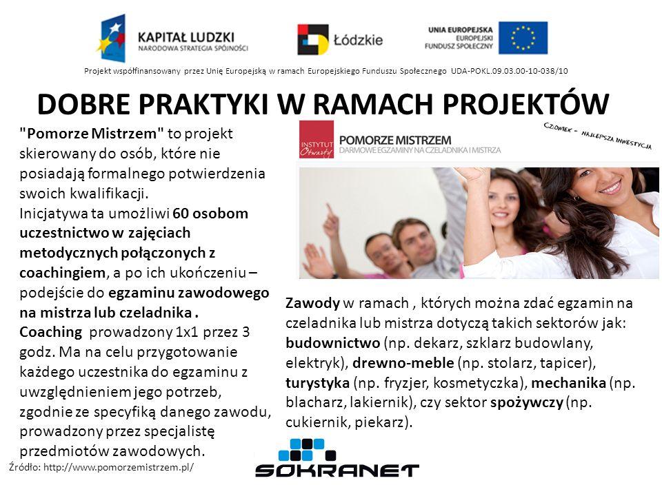 DOBRE PRAKTYKI W RAMACH PROJEKTÓW Projekt współfinansowany przez Unię Europejską w ramach Europejskiego Funduszu Społecznego UDA-POKL.09.03.00-10-038/10 Pomorze Mistrzem to projekt skierowany do osób, które nie posiadają formalnego potwierdzenia swoich kwalifikacji.