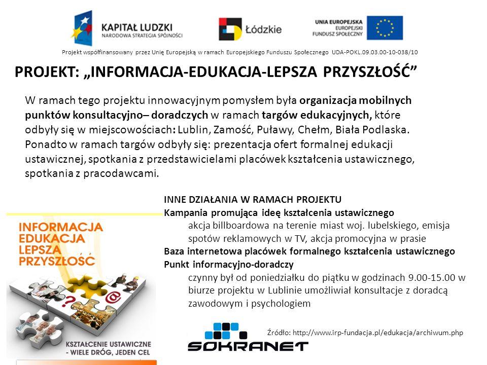 Projekt współfinansowany przez Unię Europejską w ramach Europejskiego Funduszu Społecznego UDA-POKL.09.03.00-10-038/10 PROJEKT: INFORMACJA-EDUKACJA-LE