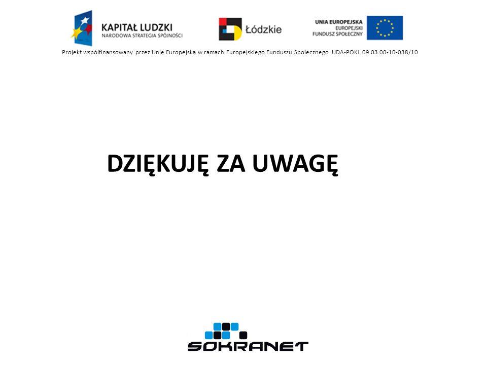 Projekt współfinansowany przez Unię Europejską w ramach Europejskiego Funduszu Społecznego UDA-POKL.09.03.00-10-038/10 DZIĘKUJĘ ZA UWAGĘ