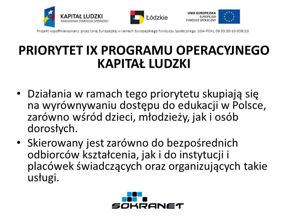 PRIORYTET IX PROGRAMU OPERACYJNEGO KAPITAŁ LUDZKI Działania w ramach tego priorytetu skupiają się na wyrównywaniu dostępu do edukacji w Polsce, zarówno wśród dzieci, młodzieży, jak i osób dorosłych.