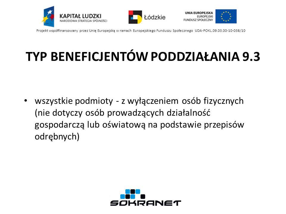 TYP BENEFICJENTÓW PODDZIAŁANIA 9.3 Projekt współfinansowany przez Unię Europejską w ramach Europejskiego Funduszu Społecznego UDA-POKL.09.03.00-10-038