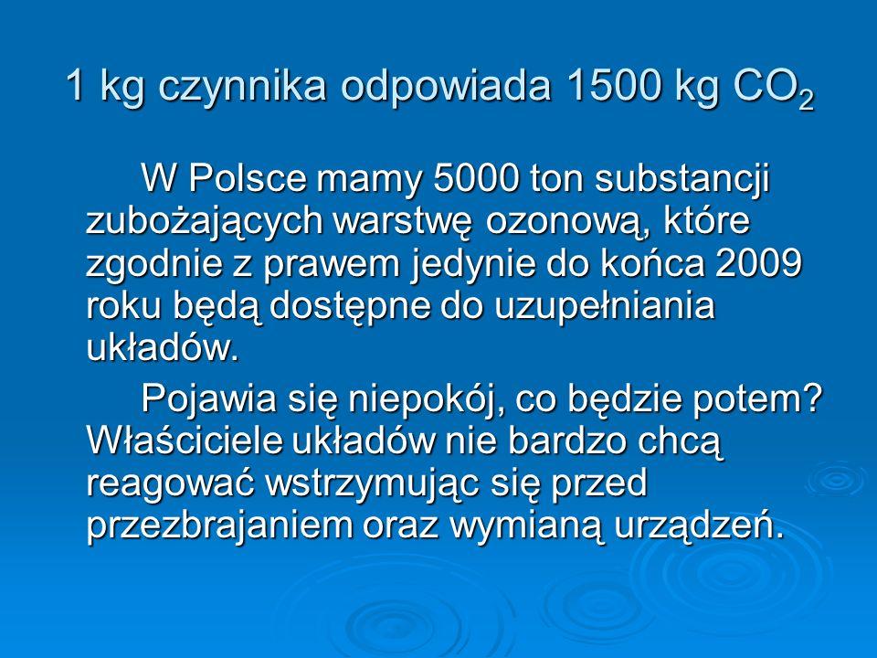 1 kg czynnika odpowiada 1500 kg CO 2 W Polsce mamy 5000 ton substancji zubożających warstwę ozonową, które zgodnie z prawem jedynie do końca 2009 roku będą dostępne do uzupełniania układów.