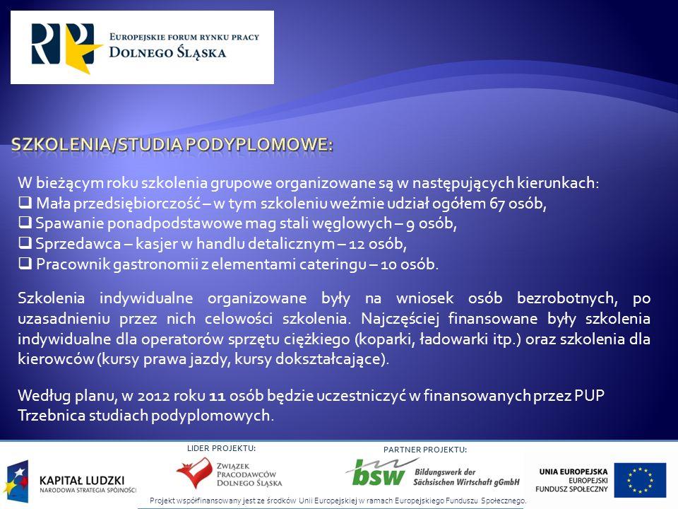 Projekt współfinansowany jest ze środków Unii Europejskiej w ramach Europejskiego Funduszu Społecznego. LIDER PROJEKTU: PARTNER PROJEKTU: W bieżącym r