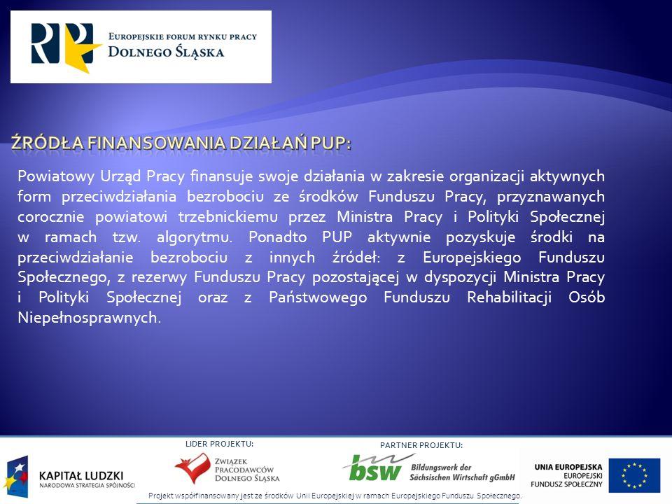 Projekt współfinansowany jest ze środków Unii Europejskiej w ramach Europejskiego Funduszu Społecznego. LIDER PROJEKTU: PARTNER PROJEKTU: Powiatowy Ur