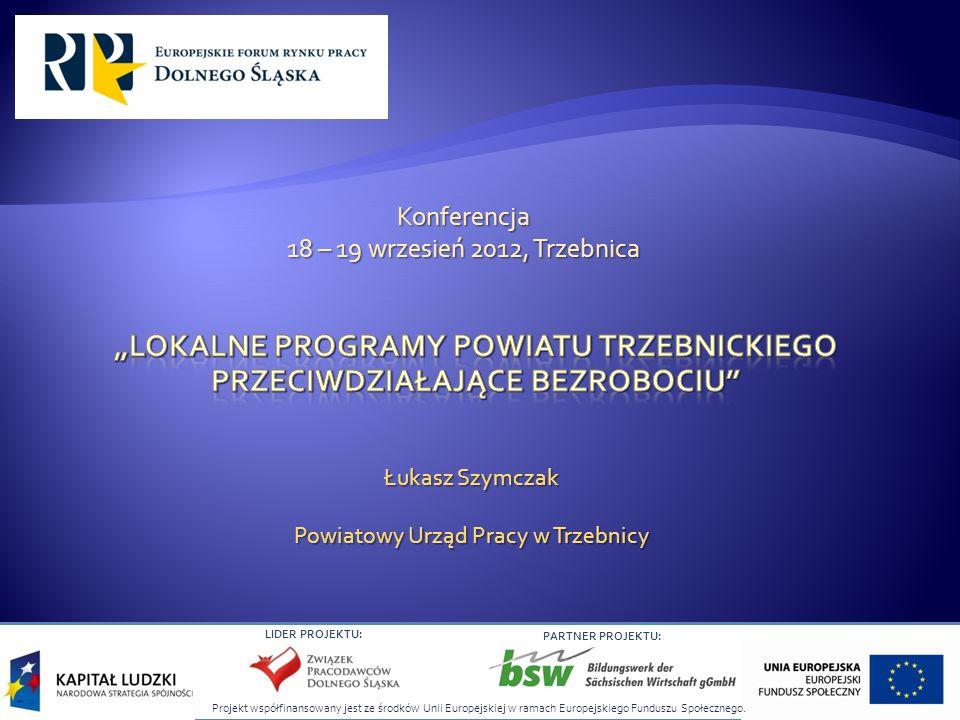 LIDER PROJEKTU: PARTNER PROJEKTU: Łukasz Szymczak Powiatowy Urząd Pracy w Trzebnicy Konferencja 18 – 19 wrzesień 2012, Trzebnica