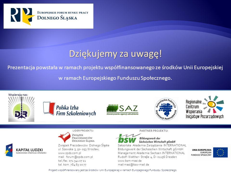 Projekt współfinansowany jest ze środków Unii Europejskiej w ramach Europejskiego Funduszu Społecznego. LIDER PROJEKTU: PARTNER PROJEKTU: Dziękujemy z