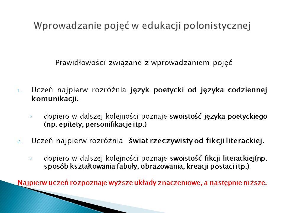 Prawidłowości związane z wprowadzaniem pojęć 1. Uczeń najpierw rozróżnia język poetycki od języka codziennej komunikacji. dopiero w dalszej kolejności