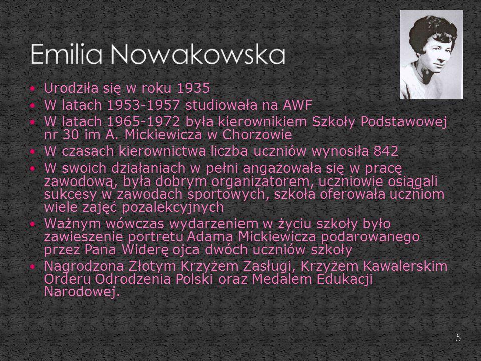 Urodziła się w roku 1935 W latach 1953-1957 studiowała na AWF W latach 1965-1972 była kierownikiem Szkoły Podstawowej nr 30 im A.