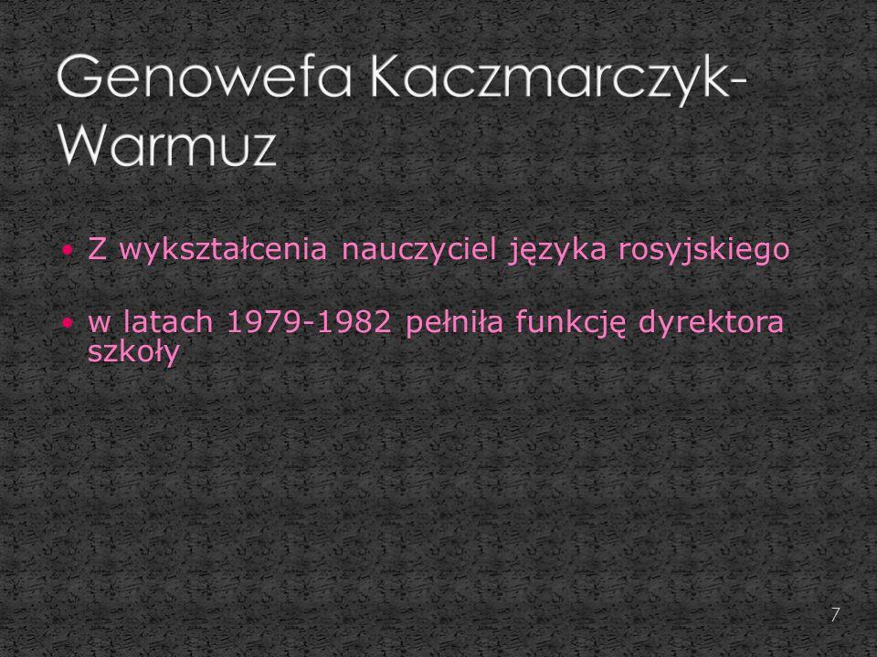 Z wykształcenia nauczyciel języka rosyjskiego w latach 1979-1982 pełniła funkcję dyrektora szkoły 7